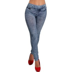 fc5303609a Nueva Moda Sexy Slim Imitación Denim Jean Leggings Para Mujer - Negro
