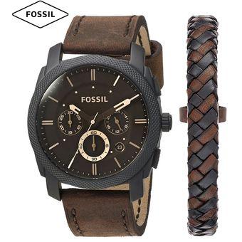 c45f9caa23c8 Compra Reloj Fossil Machine FS5251SET Correa De Cuero Con Pulsera ...