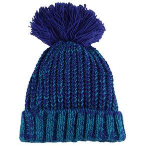 41abde3a14a16 Chic Pom Pom adornó el sombrero hecho punto para (Azul)