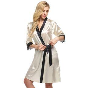 d0de2d1860 Vestido De Pijama De Satén Encaje Para Mujer-Beige