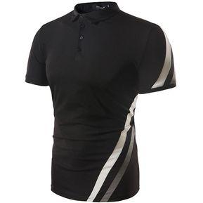 de560b272541f Camisa Polo De Verano Casual Tops Hombre Para Hombre Manga Corta-Negro