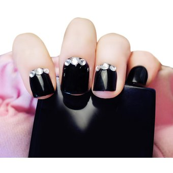 24pcs Rhinestone Decoration Nail Art False Nails Negro