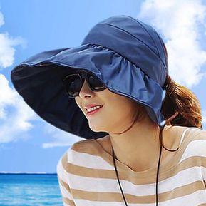8d9a81ff34 Sombrero Para El Sol Anti-UV Plegable Protector Solar Beach Para Mujeres  -Azul Oscuro
