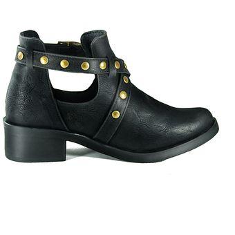 1853364d Zapato Tipo Botin Rock - Negro