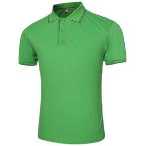 Hombre Color Sólido Turn-down Collar De Manga Corta Polo De Tamaño Verde  M 1719a14283ed9