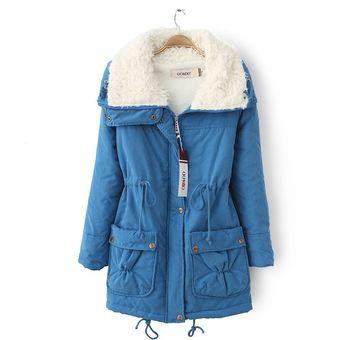 Cálido Corto Invierno Mujer Felpa Grueso De Compra Abrigo Cuello De Eqwx1XpY