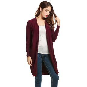 Suéter Cardigan Frente Abierto para Mujer , Rojo de vino