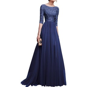 e172b0d680 Vestido Casual Generico Gasa Vestido Falda Larga - Azul