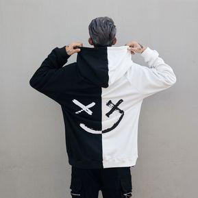 12e780f1de7b6 Hip Hop Street sonriendo con capucha camisa-Blanco y negro