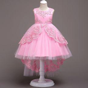 ff4b9e63df Vestido sin mangas bordado encaje niños - Rosa claro