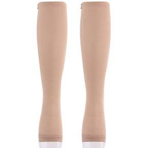 b3e0f1fa5c EY Mujeres Cremallera Compresión Rodilla Calcetines Pantys Soporta Dedo Del  Pie Del Muslo De La Pierna