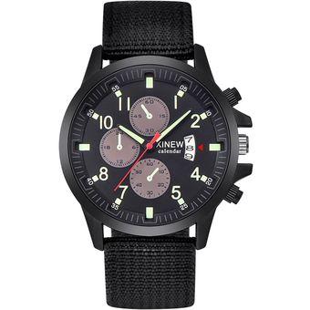 Luminiscente Hombre Reloj Quartz Xinew Militar Analógico Negro lK1JcFT