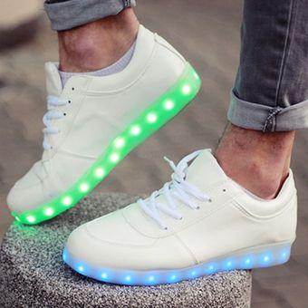 san francisco 8c18f 04390 Zapatos Deportivos Con Luces LED Unisex-Blanco