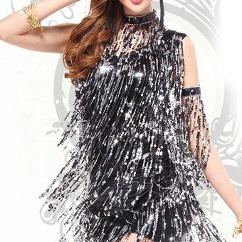 8d4df9febf4f4 Vestido de Coctel E-Thinker para danza Latina con lentejuelas y flecos -  Negro y