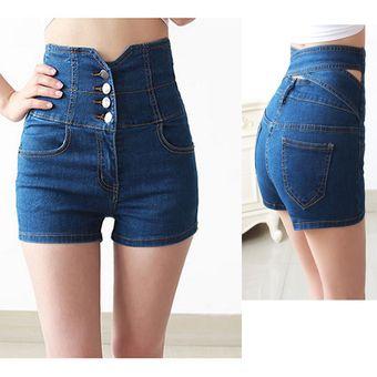 29a1589d64 Cintura Alta Pantalones Cortos Shorts Vaquero Talle Alto Shorts De  Mezclilla Para Mujer -Azul
