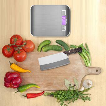 Bascula Escala de Cocina Profesional de Slim Professional con Plataforma de acero Inoxidable de hasta 5 kg--Gris