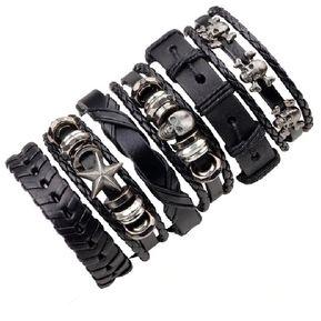 04aa9b9cdb9d set 6 manillas de cuero pulsera juego 6 manillas de cuero genuino gótico  cráneo color negro
