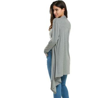 Compra Cardigan Dobladillo Asimétrico Para Mujer - Gris online ... c011f3a48c54