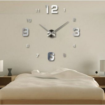 plata diy d del arte moderno espejo grande del reloj de pared del sitio casero de decoracin de la oficina