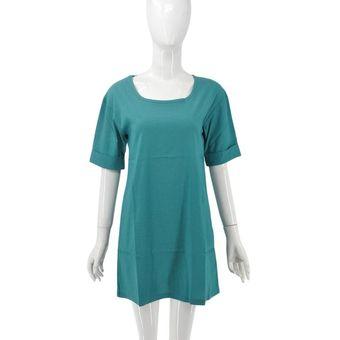 ecdda019b74 Agotado Cuello redondo manga medio vestido suelto Chiffon para dama ropa  para el ocio
