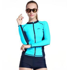 Traje De Baño Bañador Mujer Camiseta Manga Larga Surf Spearfishing Swimwear  Azul f522e3c6a9e