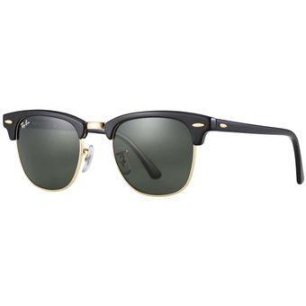 Anteojos De Sol Ray Ban Rb3016 W0365 ClubMaster - Negro Con Verde Oscuro G-15