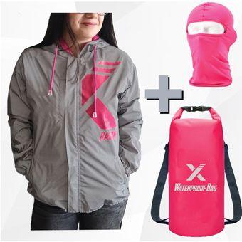 selección premium a1a54 947d6 Chaqueta Reflectiva Impermeable Para Moto + Maleta Dry Bag + Balaclava