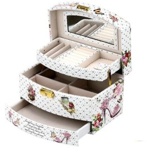 5b256be77089 Caja Organizador De Joyas Estuche De Cuero Varios Niveles Blanco