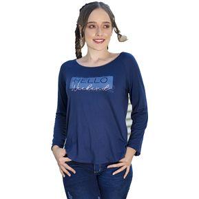 64c2638e23 Blusa Color Azul Oscuro Para Dama Manga Larga Rangla Con Estampado En  Delantero Denise