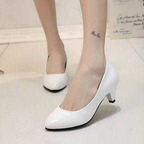 750a0e7b Zapatos De Tacón Medio De Mujer Puntiagudos-Blanco