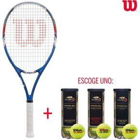 28d30a40ccc Raqueta De Tenis Wilson US Open + Pelotas De Tenis US Open