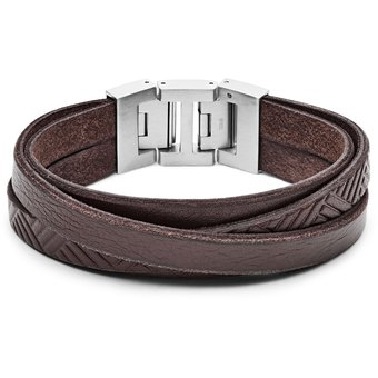 992891d61fdd Agotado Fossil - Brazalete JF02999040 Textured Brown Leather para Hombre
