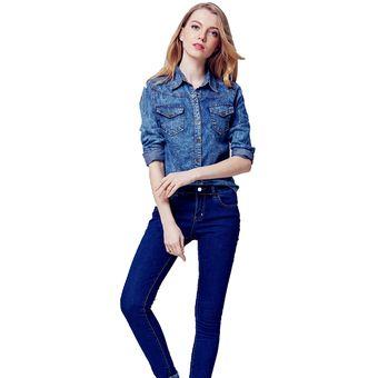 7ec052340 Nueva moda ropa de mujer blusa de manga larga camisa de mezclilla  nostalgico camisa femininas Vintage