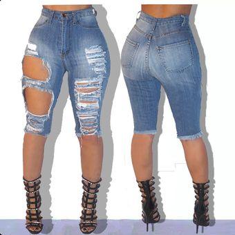 Pantalones Cortos Sexis Ajustados De Tela Vaquera Para Mujer Pantalones Cortos Rotos Con Agujero En La Cintura Cenido Traje Elastico Roto Pantalones Cortos Ajustados A Linio Mexico Ge598fa1ndx3dlmx