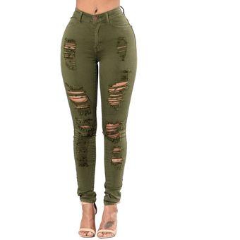 Venta caliente genuino precio loco gama exclusiva mujeres Pantalones vaqueros desgastados rotos de rodilla de cintura