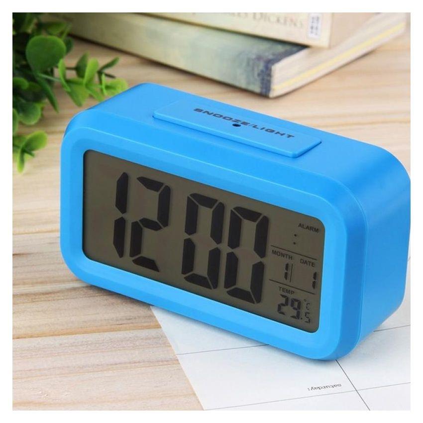 Negro coche Dashboard Termómetro Digital LCD azul retroiluminación time clock Calendar