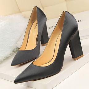 36a1e5763c Zapatos de tacón alto de tacón grueso de moda para mujer