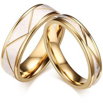 682df57eee34 Anillo De Compromiso Par De Acero De Titanio De San Valentín Para  Hombres-Dorado