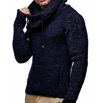 pero no vulgar buena calidad mayor descuento Abrigo de punto grueso con cuello alto de punto para hombre azul marino