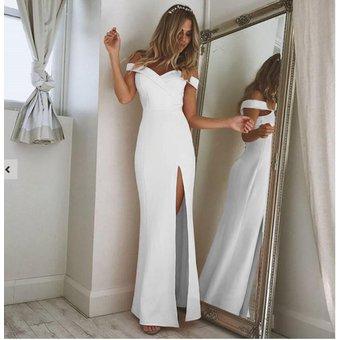 Simple Y Falda Larga De Otoño Vestidos Largos Casuales Para Mujer Blanco