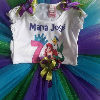 Vestido Tutu Niña Personalizado Sirenita Ariel Con Nombre