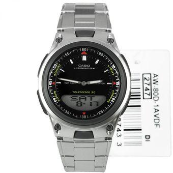 Reloj Casio Hombre Telememo Illuminator Modelo AW80D 1A Negro