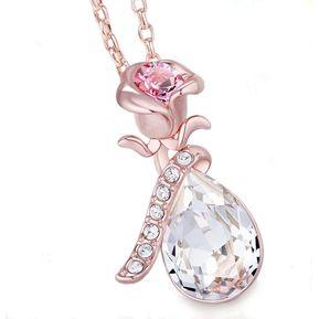 08bde83b548f Záffira - Collar Mujer Rosa Con Cristales Swarovski - Oro Rosado