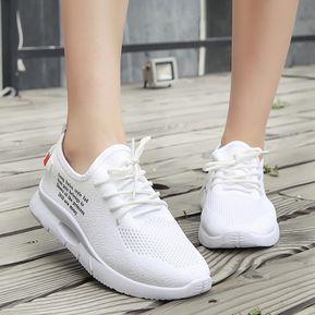 e642b7d827c Zapatos Deportivos Mujer Corree Transpirable Zapatos De Tela-blanco