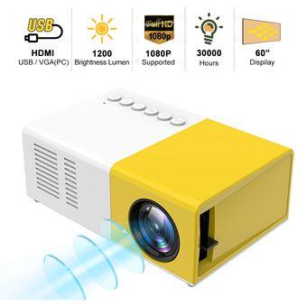 HD 1080P USB Micro SD AV Mini proyector de hogar bolsillo Beamer HD Theater