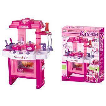 Compra Set De Cocina De Juguete Con Horno Con Luz Y Sonido Rosa Para
