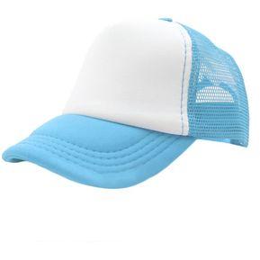 Verano Hombre Mujer Moda Trucker Cap Hat De Malla Exterior Baseball Cap  Sombrilla Azul Blanco 18b8c7c51b2