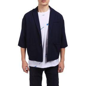 Chaqueta de la solapa media manga hombres Bolsillo ocasional Outwear -Azul d26448f9881