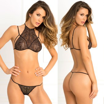 6a85c636a Lenceria Sexy Babydoll Dulce Encaje Transparente Ropa Interior Con Tanga  Sexual De Mujer Talla XL -