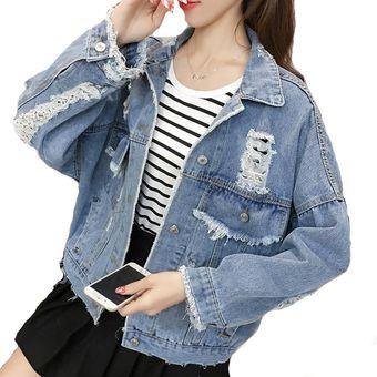 50-70% de descuento muy baratas a juego en color Vintage Boyfriend Ripped Jean Jacket Para Mujeres Agujero Denim Jacket